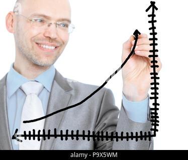 Geschäftsmann erstellt ein Diagramm. Auf einem weißen Hintergrund. - Stockfoto