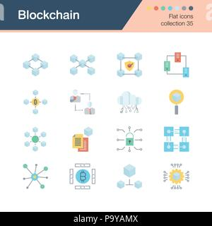 Blockchain Symbole. Flaches Design Collection 35. Für die Präsentation, Grafik Design, Mobile, Web Design, Infografiken. Vector Illustration. - Stockfoto