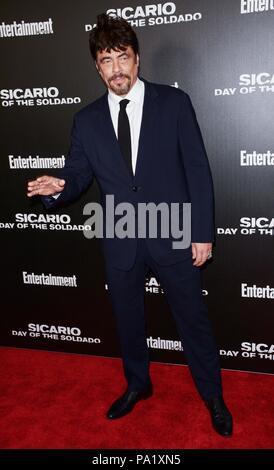 Der icario: Tag der Soldado 'Premiere - Ankunft mit: Benicio Del Toro, Wo: New York, New York, United States Wann: 18 Jun 2018 Credit: Patricia Schlein/WENN.com - Stockfoto