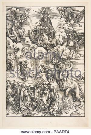 Das Tier mit zwei Hörnern wie ein Lamm aus der Apokalypse. Künstler: Albrecht Dürer (Deutsch, Nürnberg 1471-1528 Nürnberg). Maße: Blatt: 17 3/8 x 12 in. (44,1 x 30,5 cm) Platte: 15 3/8 x 11 in. (39,1 x 27,9 cm). Datum: n. d.. Museum: Metropolitan Museum of Art, New York, USA. - Stockfoto