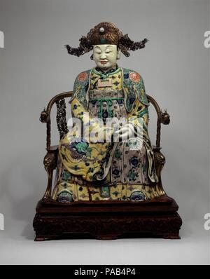 """Porzellan Skulptur Statue Große Porzellanfigur /""""Gott des Reichtums Chai Shen/"""""""