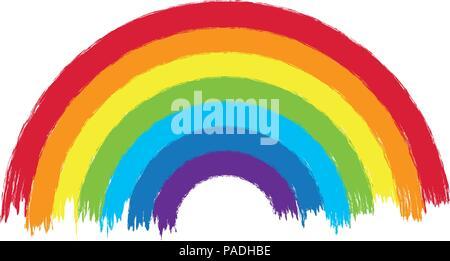 Vektor bunten Regenbogen arc Abbildung, Grunge lackiert Design der Regenbogen Farben auf weißem Hintergrund, abstrakte Zeichnung Design - Stockfoto