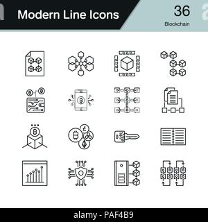 Blockchain Symbole. Modernes Design Set 36. Für die Präsentation, Grafik Design, Mobile, Web Design, Infografiken. Vector Illustration. - Stockfoto
