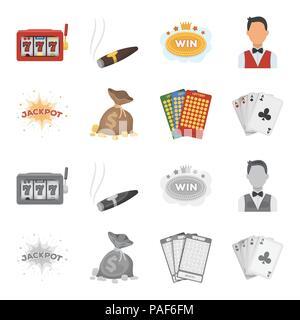 Jack Schweiß, einen Beutel mit Geld gewonnen, Karten für Bingo spielen, Karten spielen. Casino und Glücksspiel set Sammlung Icons im Cartoon, Schwarzweiß-Stil Vektor - Stockfoto