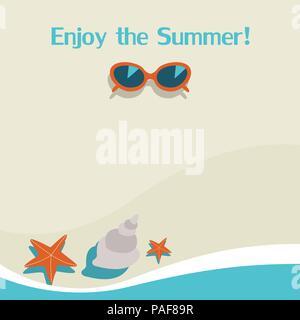 Sommer Hintergrund mit Meer, Sonnenbrille, Seesterne und Fische. Vector Illustration - Stockfoto