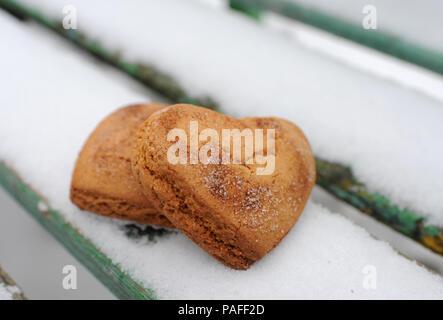 Hausgemachte Kekse mit Zimt im Schnee - Stockfoto