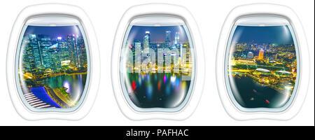 Malerische windows Flug über Singapur twilight Panorama in der ...