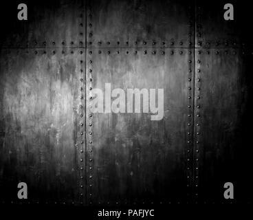 fadenscheinig rostigem Stahl mit Nieten, Eisen-Hintergrund - Stockfoto