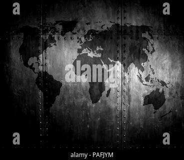 fadenscheinig rostigem Stahl mit Nieten, Eisen-Hintergrund mit Weltkarte - Stockfoto