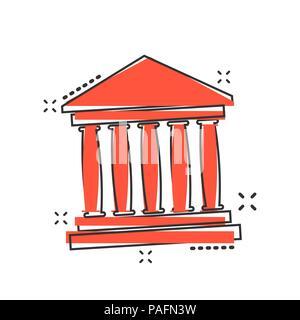 Vektor cartoon Bank Gebäude Symbol im Comic-stil. Museum sign Abbildung Piktogramm. Aufbau von Business splash Wirkung Konzept. - Stockfoto