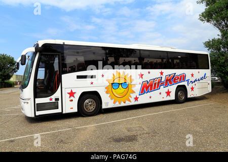 Mil-Ken, Reisebus, Tagesausflüge, Littleport, Cambridgeshire, UK, Urlaub, Trainer, Reisen - Stockfoto