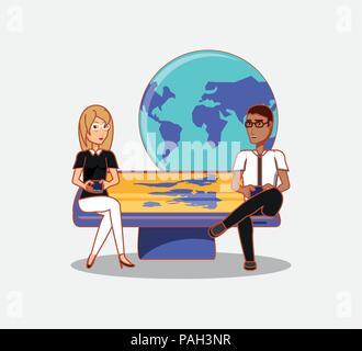 Der Mann und die Frau mit den Telefonen sitzen auf großen Gerät Welt social media Vector Illustration - Stockfoto