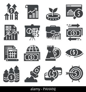 Vektor Investitionen Symbole gesetzt. Geld, Finanzen Banking Abbildung - Stockfoto