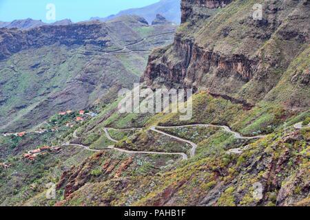 Teneriffa, Kanarische Inseln, Spanien - schöne Berg Straße nach Masca - Stockfoto
