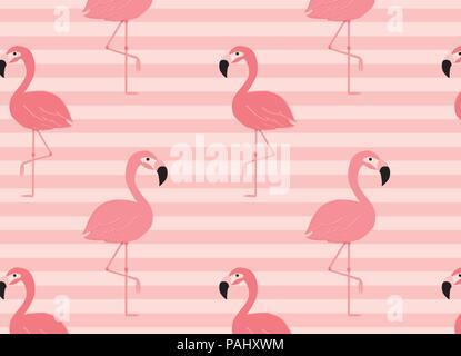 Minimale rosa Flamingo Muster nahtlose Hintergrund - Stockfoto