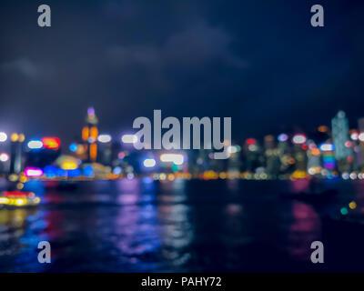 Bild von Hong Kong Nachtansicht mit Kreis Bokeh zu verwischen - Stockfoto