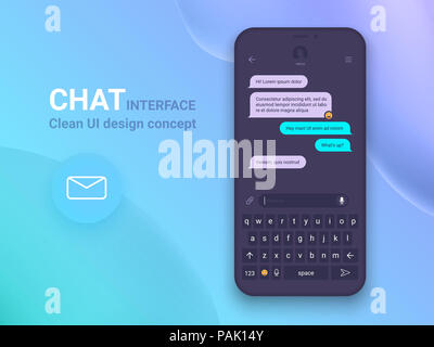 Chat Schnittstelle Anwendung mit Dialog Fenster. Clean Mobile UI Design Konzept. Sms Messenger. Flache Web Icons - Stockfoto