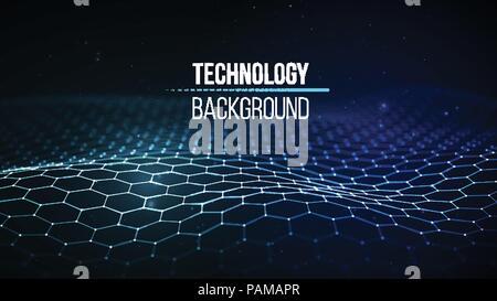 Abstrakte Technologie Hintergrund. Hintergrund 3D-Gitter. Cyber Technologie Ai tech wire Netzwerk futuristische Drahtmodell. Künstliche Intelligenz. Cyber Security Hintergrund Vector Illustration - Stockfoto