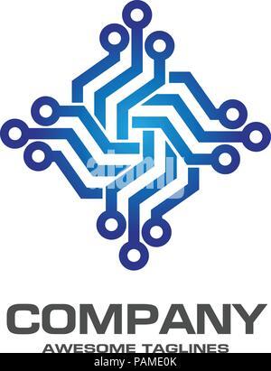 Digitale Elektronik-Logo-Design. Kreative elektronische Schaltungen ...