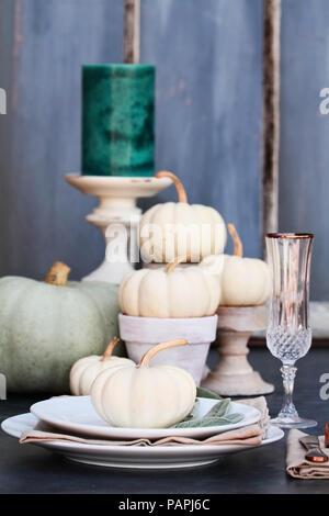 Thanksgiving oder Halloween Ort Einstellung mit Erbstück mini Weiß und Grau Kürbisse und Kerzen gegen eine rustikale Herbst Hintergrund. - Stockfoto