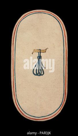1 Anbindehaltung, aus den Kreuzgängen Karten spielen. Kultur: Süden Niederländischen. Abmessungen: 5 3/16 x 2 3/4 in. (13,2 x 7 cm). Datum: Ca. 1475-80. Die Klöster von zweiundfünfzig Karten stellt die einzige bekannte ganzes Deck von beleuchteten gewöhnlichen Spielkarten (im Gegensatz zu tarot Karten) aus dem 15. Jahrhundert. Es gibt vier Farben, die jeweils aus einem König, Dame, Bube und Zehn Zahlenkarten. Die Farbzeichen, an Geräten mit der Jagd verbunden, sind Jagdhörner, Hundehalsbänder, hound Anbindehaltung, Spiel und Schlingen. Der Wert des PIP-Karten ist durch entsprechende Wiederholungen des s angezeigt - Stockfoto