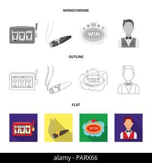 Jack Schweiß, einen Beutel mit Geld gewonnen, Karten für Bingo spielen, Karten spielen. Casino und Glücksspiel set Sammlung Icons in flachen, Outline, Schwarzweiß-Stil ve - Stockfoto