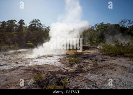 Papua Neu Guinea, Dei Dei heißen Quellen, Fergusson Island. Dampf und Wasser aus einer heißen Quelle. - Stockfoto