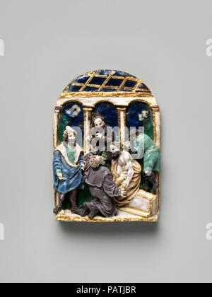 Dornenkrönung. Kultur: Deutsche, Augsburg oder Nürnberg. Abmessungen: Insgesamt (bestätigt): 2 7/16 x 1 3/4 in. (6,2 × 4,4 cm). Datum: 1520-30. Diese plastischen Reliefs (2015.388.1-.4) Außerordentliche, Juwel - wie durch eine innovative Technik, die geschmolzenes Glas einfügen über einen Anker gold Kabel auf einem silbernen Base gebaut erreicht Emaillieren. In ausdrucksstarken Detail, sie repräsentieren die vier Szenen der Passion Christi in einem kleinen Maßstab-- vollständig spürbaren nur für privilegierte genug, die Reliefs aus der Nähe zu sehen. (Die Kompositionen verdanken mehr als ein wenig an die kleine Leidenschaft pri - Stockfoto