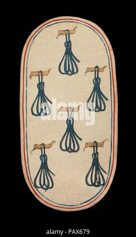 6 Anbindehaltung, aus den Kreuzgängen Karten spielen. Kultur: Süden Niederländischen. Abmessungen: 5 3/16 x 2 3/4 in. (13,2 x 7 cm). Datum: Ca. 1475-80. Die Klöster von zweiundfünfzig Karten stellt die einzige bekannte ganzes Deck von beleuchteten gewöhnlichen Spielkarten (im Gegensatz zu tarot Karten) aus dem 15. Jahrhundert. Es gibt vier Farben, die jeweils aus einem König, Dame, Bube und Zehn Zahlenkarten. Die Farbzeichen, an Geräten mit der Jagd verbunden, sind Jagdhörner, Hundehalsbänder, hound Anbindehaltung, Spiel und Schlingen. Der Wert des PIP-Karten ist durch entsprechende Wiederholungen des s angezeigt - Stockfoto