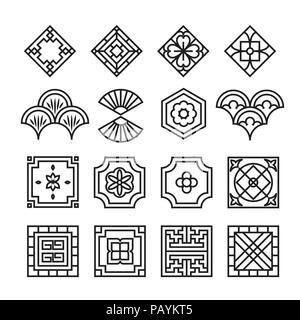 Asiatische Ornament Icon, koreanische, chinesische, japanische Vektor-set - Stockfoto