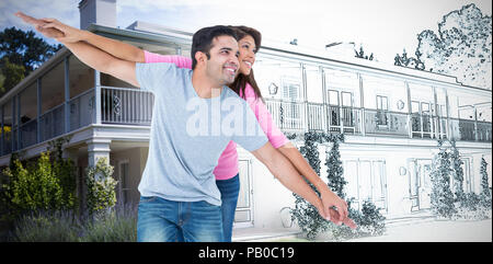 Das zusammengesetzte Bild der glücklichen Mann seine Freundin piggy zurück geben - Stockfoto