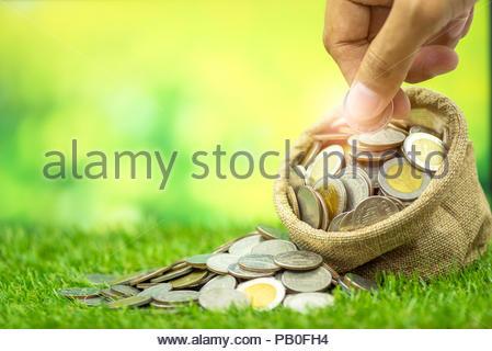 Geld sparen Konzept, viele Münzen im Beutel und von Hand eingefügt in die Tasche auf dem Rasen und Grünen bokeh Hintergrund - Stockfoto
