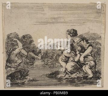 """Latona, von """"Spiel der Mythologie' (Jeu de la Mythologie). Artist: GEÄTZT von Stefano Della Bella (Italienisch, Florenz 1610-1664 Florenz); entworfen von Jean Desmarets de Saint-Sorlin (Französisch, 1595-1676). Dedicatee: Ludwig XIV., König von Frankreich (Französisch, Saint-Germain-en-Laye 1638-1715 Versailles). Maße: Blatt: 1 15/16 x 2 1/4 in. (4,9 × 5,7 cm). Schirmherr: Kardinal Jules Mazarin (Italienisch, Piscina 1602-1661 Vincennes). Herausgeber: Henri Le Gras (Französisch). Serie/Portfolio: """"Spiel der Mythologie' (Jeu de la Mythologie). Datum: 1644. Museum: Metropolitan Museum of Art, New York, USA. - Stockfoto"""