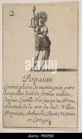 """Popayan, aus """"Spiel der Geographie"""" (Jeu de la géographie). Artist: GEÄTZT von Stefano Della Bella (Italienisch, Florenz 1610-1664 Florenz); entworfen von Jean Desmarets de Saint-Sorlin (Französisch, 1595-1676). Dedicatee: Ludwig XIV., König von Frankreich (Französisch, Saint-Germain-en-Laye 1638-1715 Versailles). Maße: Blatt: 3 1/2 x 2 1/8 in. (8,9 × 5,4 cm). Schirmherr: Kardinal Jules Mazarin (Italienisch, Piscina 1602-1661 Vincennes). Herausgeber: Henri Le Gras (Französisch). Serie/Portfolio: """"Spiel der Geographie"""" (Jeu de la géographie). Datum: 1644. Museum: Metropolitan Museum of Art, New York, USA. - Stockfoto"""