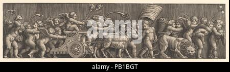 Ein Fries Anordnung depcting der Triumph der Liebe; Amor in einen Wagen geführt von Ziegen, viele andere Schlag Füllen der Komposition. Artist: Nach Raphael (Raffaello Sanzio oder Santi) (Italienisch, Urbino 1483-1520 Rom); Meister der Sterben (Italienisch, aktive Rom, Ca. 1530-60). Maße: Blatt: 3 15/16 x 15 15/16 in. (10 x 40,5 cm). Datum: 1530-60. Formen ein Paar mit 49.97.335. Museum: Metropolitan Museum of Art, New York, USA. - Stockfoto