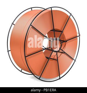 Kupfer Löten, Schweißen, Kabel Spule. 3D-Rendering auf weißem Hintergrund - Stockfoto