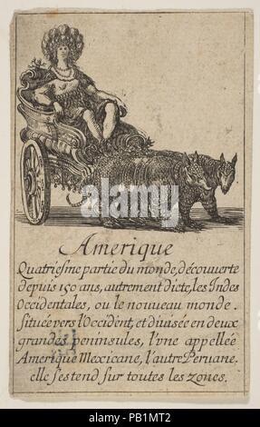 """Amerika, von """"Spiel der Geographie"""" (Jeu de la géographie). Artist: GEÄTZT von Stefano Della Bella (Italienisch, Florenz 1610-1664 Florenz); entworfen von Jean Desmarets de Saint-Sorlin (Französisch, 1595-1676). Dedicatee: Ludwig XIV., König von Frankreich (Französisch, Saint-Germain-en-Laye 1638-1715 Versailles). Maße: Blatt: 3 1/2 x 2 3/16 in. (8,9 × 5,6 cm). Schirmherr: Im Auftrag von Kardinal Jules Mazarin (Italienisch, Piscina 1602-1661 Vincennes). Herausgeber: Herausgegeben von Henri Le Gras (Französisch). Serie/Portfolio: """"Spiel der Geographie"""" (Jeu de la géographie). Datum: 1644. Museum: Metropolitan Museum of Art, New York, - Stockfoto"""