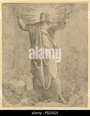Der Erretter abgedeckt in einem großen Umhang. Artist: Battista Franco (Italienisch, Venedig Ca. 1510-1561 Venedig). Maße: Blatt: 7 1/2 x 6 5/16 in. (19,1 x 16 cm) auf Plattenkante geschnitten. Museum: Metropolitan Museum of Art, New York, USA. - Stockfoto