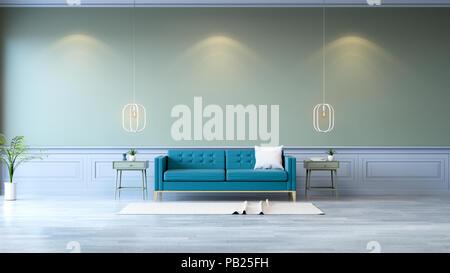 Vintage green room minimalistischen interieur grüne sofa mit