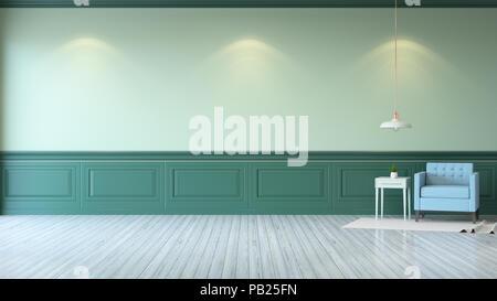 Vintage green room minimalistischen interieur blau sofa mit