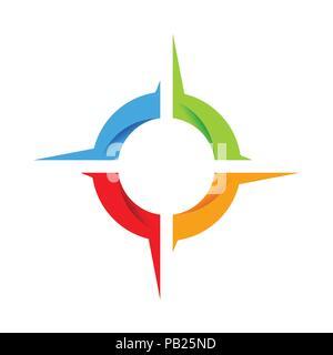 Soziale Kompass Rad Vektor Symbol Grafik Logo Design - Stockfoto