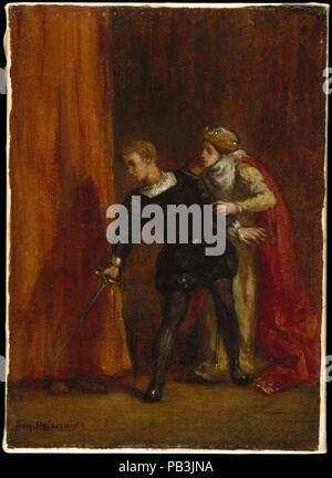 """Hamlet und seiner Mutter. Künstler: Eugène Delacroix (Französisch, Charenton-Saint-Maurice 1798-1863 Paris). Abmessungen: 10 3/4 x 7 1/8 in. (27,3 x 18,1 cm). Datum: 1849. Dieses Bild zeigt den Moment in Shakespeares epischen Tragödie <i> Weiler</i>, in der die Protagonisten, die privat gesprochen hat mit seiner Mutter, der Königin Gertrude von Dänemark, bemerkt eine Figur hinter den Vorhängen von ihrem Schrank. Unmittelbar danach, Hamlet wird aufspießen Die versteckten Polonius mit seinem Schwert, und bringen den einprägsamen Satz """"Wie jetzt! Eine Ratte? Ducat tot, tot!' Die Zusammensetzung ist identisch mit einer schwarzen und weißen lithogr - Stockfoto"""