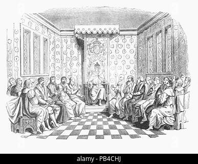 Edward VI (1537-1553) war der König von England und Irland vom 28. Januar 1547 bis zu seinem Tod. Er wurde am 20. Februar im Alter von neun Jahren gekrönt. Henry VIII's wird 16 Testamentsvollstrecker, Waren als Edward's Rat zu handeln, bis er im Alter von 18 Jahren erreicht. Diese executoren wurden von zwölf Männer' von counsail', die die Executoren unterstützen würde, wenn sie auf sogenannte ergänzt. Der Rat wurde zunächst von seinem Onkel Edward Seymour, Herzog von Somerset (1547-1549), und dann von John Dudley, 1. Earl of Warwick (1550-1553), ab 1551 Herzog von Northumberland. - Stockfoto