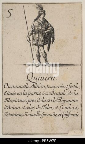 """Quivira, aus """"Spiel der Geographie"""" (Jeu de la géographie). Artist: GEÄTZT von Stefano Della Bella (Italienisch, Florenz 1610-1664 Florenz); entworfen von Jean Desmarets de Saint-Sorlin (Französisch, 1595-1676). Dedicatee: Ludwig XIV., König von Frankreich (Französisch, Saint-Germain-en-Laye 1638-1715 Versailles). Maße: Blatt: 3 1/2 x 2 3/16 in. (8,9 × 5,5 cm). Schirmherr: Kardinal Jules Mazarin (Italienisch, Piscina 1602-1661 Vincennes). Herausgeber: Henri Le Gras (Französisch). Serie/Portfolio: """"Spiel der Geographie"""" (Jeu de la géographie). Datum: 1644. Museum: Metropolitan Museum of Art, New York, USA. - Stockfoto"""