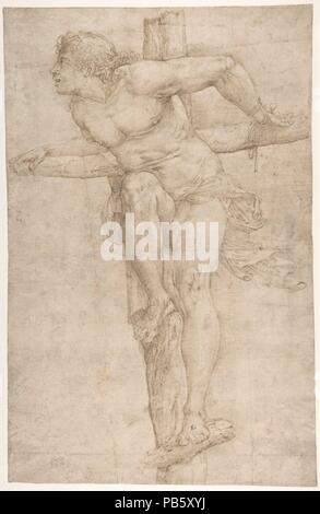 Der reuige Dieb am Kreuz. Artist: Battista Franco (Italienisch, Venedig Ca. 1510-1561 Venedig). Abmessungen: 15-11/16 x 10-1/16 in. (39,9 x 25,6 cm). Datum: 1510-61. Museum: Metropolitan Museum of Art, New York, USA. - Stockfoto