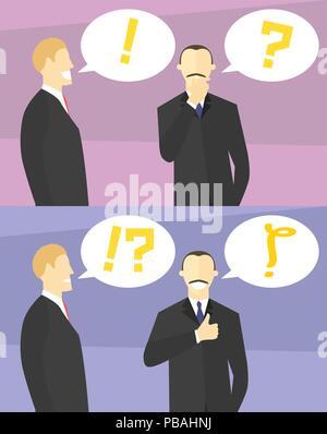 Die Entscheidung Konzept. Boss Zweifel. Kollege gibt Ratschläge. Unternehmer unsicher, dann sicher. Zweifelnd und selbstbewusste Menschen. Vektor Flat Style illustratio - Stockfoto