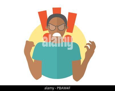 Fury bösen schwarzen Mann in Gläsern. Junge in Wut, Zorn, Rampage. Flaches Design Symbol. Einfach editierbare isoliert Vector Illustration - Stockfoto