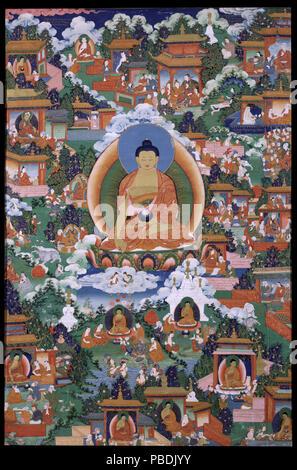 1312 Buddha Shakyamuni mit Avadana Legende Szenen - - Stockfoto