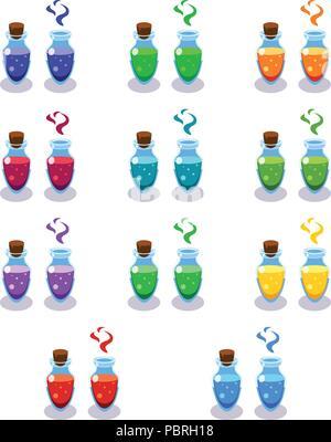 Cartoon Flaschen mit Gift in verschiedenen Farben - Stockfoto