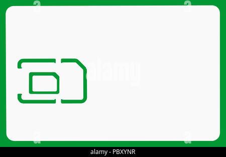 Smart Card SC Größe für Handy oder Smartphone isoliert Pfad und über Chroma Key grün - Stockfoto